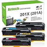 Aztech 4 Pack XXL Toner Compatible for HP201X HP 201X CF400X CF401X CF402X CF403X HP201A HP 201A Toner Cartridge for HP Color Laserjet Pro MFP M277dw M277n M277c6 M277 M274n M252dw M252n M252