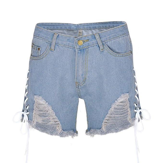 NPRADLA Vaqueros Jeans Tendencia Pantalón Corto elástico con ...
