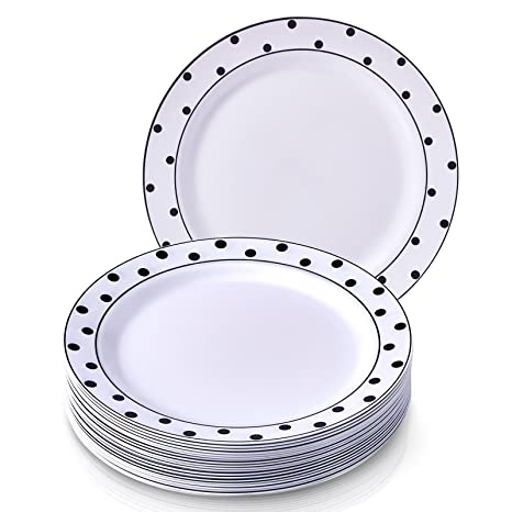 Party Disposable 20 pc Dinnerware Set | 20 Dinner Plates | Heavyweight Plastic Dishes | Elegant  sc 1 st  Amazon.com & Amazon.com | Party Disposable 20 pc Dinnerware Set | 20 Dinner ...