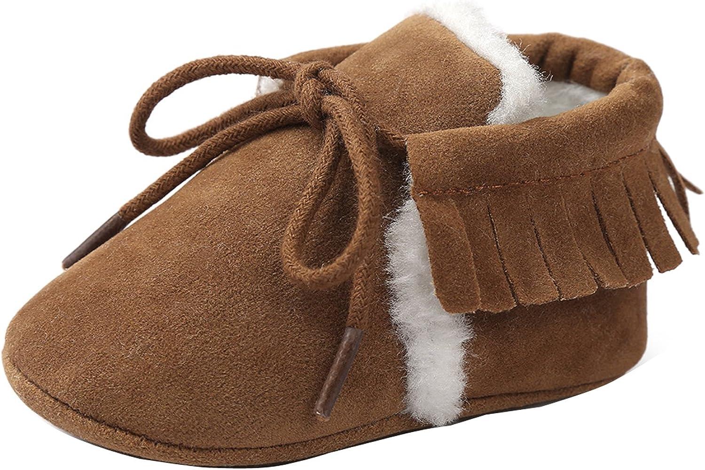 Comfy Baby Boys Girls Winter Fur Suede Prewalker Shoes Child Soft Sole Crib Boot
