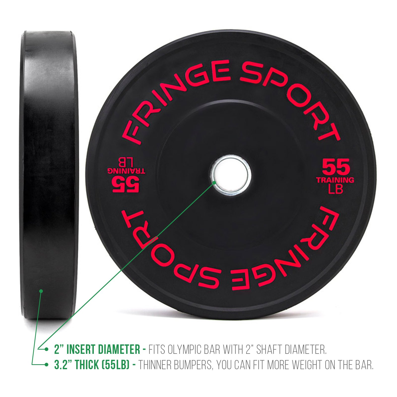 OneFitWonder Contrast Lettering Olympic Bumper Plate Pairs 10lb - 55lb Virgin Rubber for Weightlifting (55)