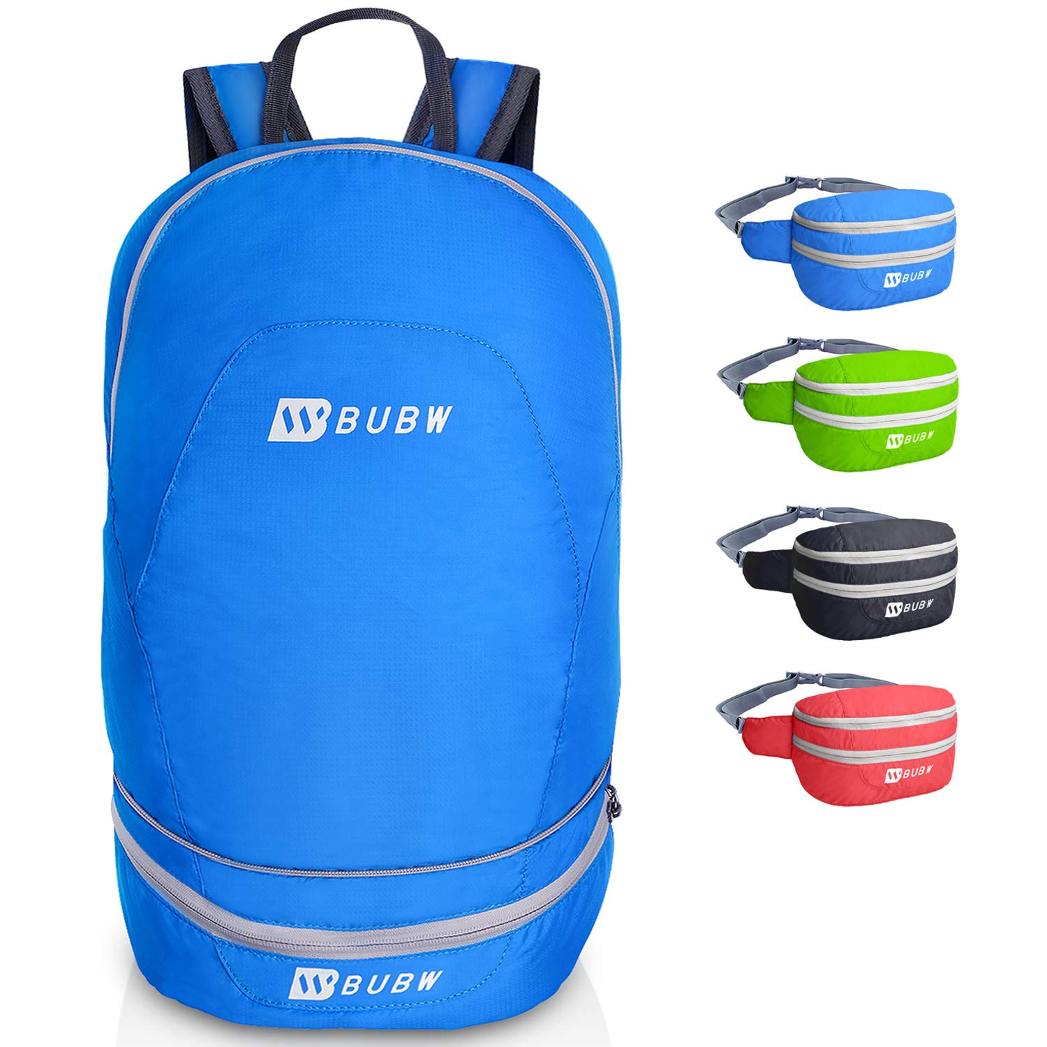 BUBW 2 IN 1 Packable Backpack Waist Pack Lightweight Foldable Daypack Bag for hiking,travelling,cycling
