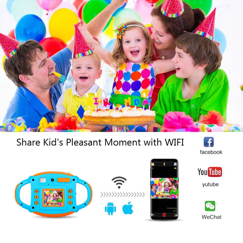 Ifmeyasi WiFi Kids Camera, 1080P 8MP Digital Video Recorder Cameras for 3-8 Year Old Girls Boys Gift, Shockproof Mini Child Camcorder with 1.77 LCD Display, Mic, Flash Light(16GB Memory Card Included) by ifmeyasi (Image #2)