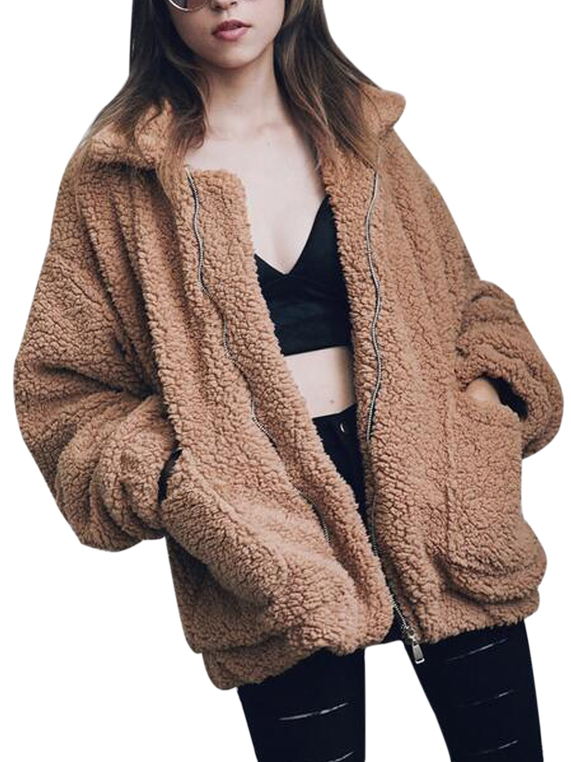 CHOiES record your inspired fashion Women's Khaki Lapel Long Sleeve Faux Shearling Coat Winter Warm Cardigan L