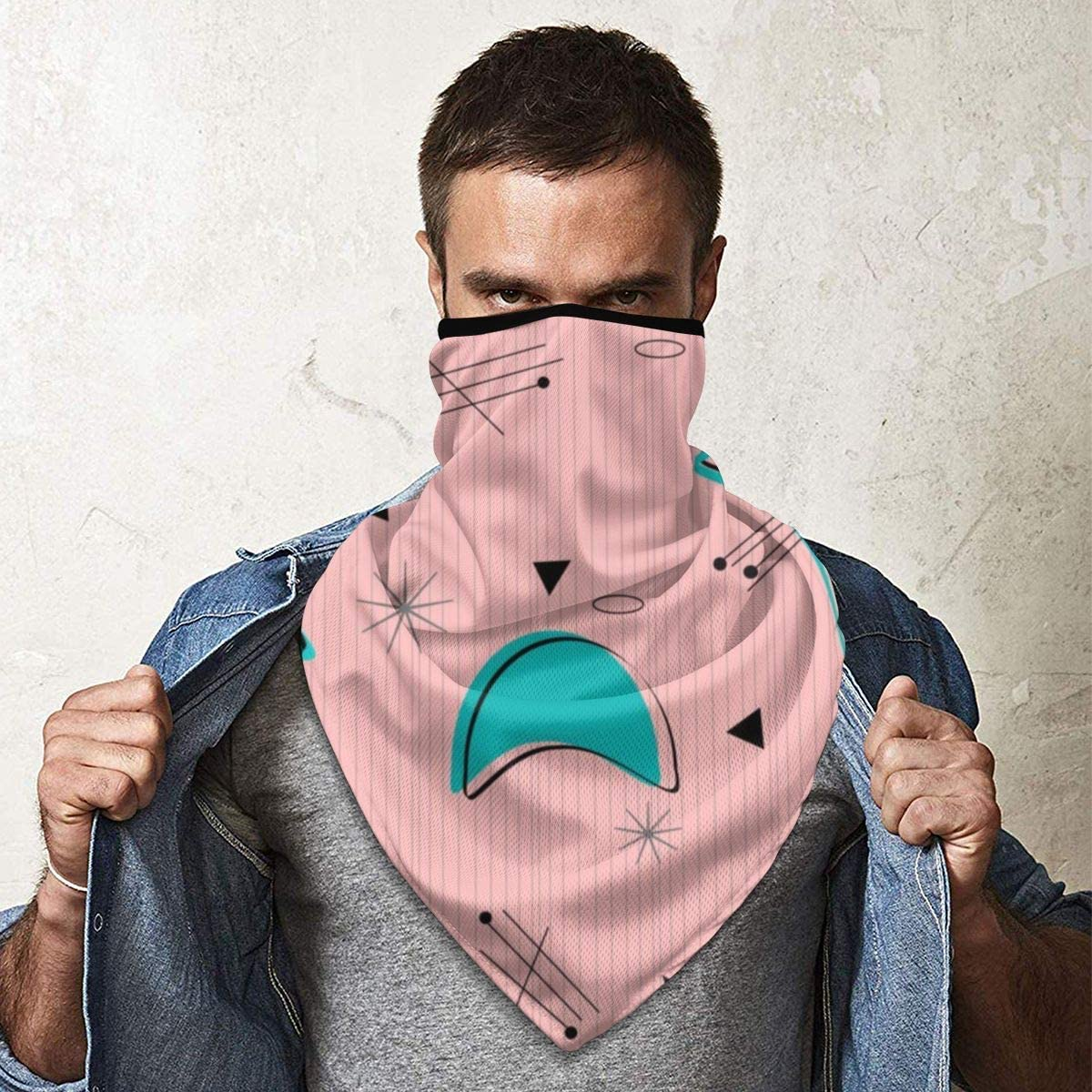 Wind-Resistant Face Mask/& Neck Gaiter,Balaclava Ski Masks,Breathable Tactical Hood,Windproof Face Warmer for Running,Motorcycling,Hiking-Mid Century Pink Teal Boomerangs