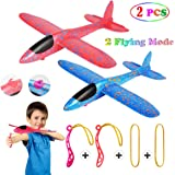 MIMIDOU 2 Pcs Aerobatic Slingshot Plane 2 Flight Mode Glider Airplane 2 Ways to Play Outdoor Flying Toy for Kids as Gift. (15 inch Slingshot Glider 2 Colors)