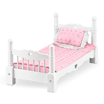 Melissa & Doug White Wooden Doll Bed With Bedding, 24 x 12 x 11-Inches: Melissa & Doug: Toys & Games