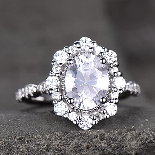 Princess Diana Wedding Ring.Antique Engagement Ring Diamond Simulated Wedding Ring Vintage Floral Halo Princess Diana Ring Bridal Ring Cluster Ring Sterling Silver White Gold