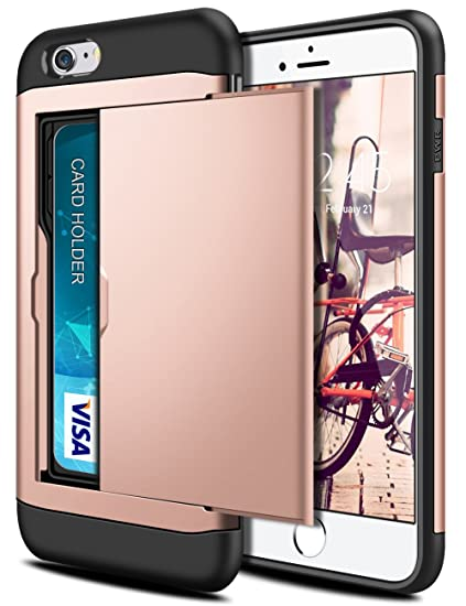official photos 9c331 01c91 SAMONPOW Wallet Cover for iPhone 6 iPhone 6s Case Card Holder Hard PC TPU  Inner Rubber Back Cover for iPhone 6 iPhone 6s 4.7 inch Rose Gold