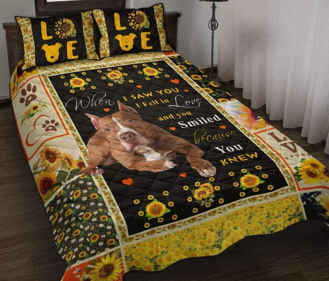 Cute Pitbull Quilt Quilt King Queen Twin Throw Size Birthday New Year Gifts Bedding Cover Patchwork Wall Hanging Winter Quilt Gifts