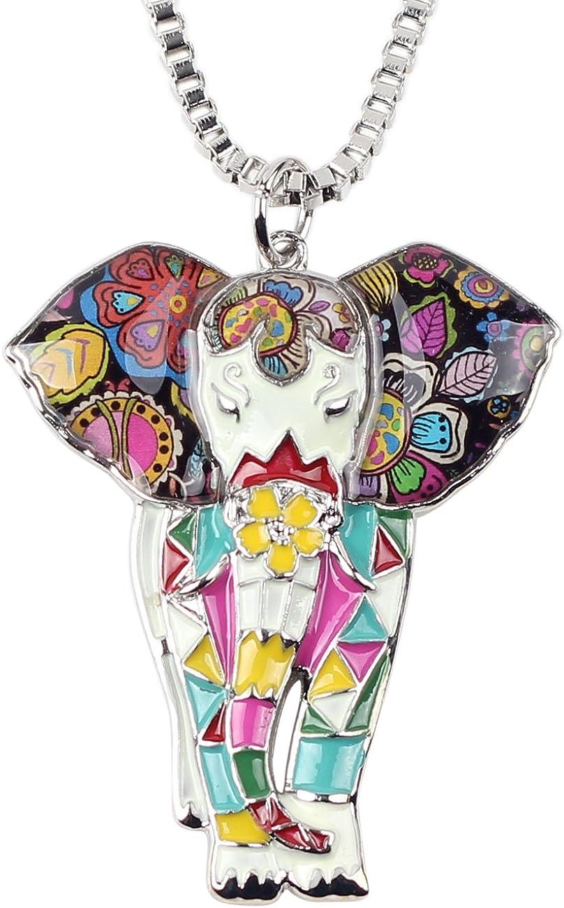BONSNY Signature Africa Wildlife Collection Sunrise Jungle Safari Wild Elephant Enamel Pendant Necklace