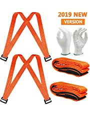 2019 Moving Straps(Sangles mobiles) 2 person Furniture Teamstrap Lifting System with Shoulder Harnesses,Feel Lighter Over 50% ,Upto 800LBS Appliances ,Flexible Sections Lifting Straps With Bonus Slip-Proof Gloves By Stwie