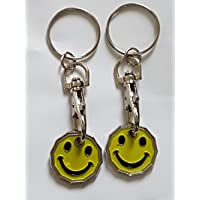 2 X FABULOUZ NEW SHAPE 12 Edge Sided Trolley Token £1 Coin Pound Shopping Key Ring Clasp Supermarket Locker Gift(SMILEY DESIGN)