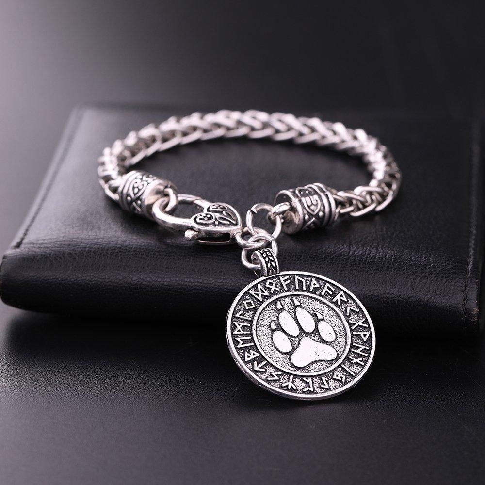 Skyrim Wicca Runic Bear Paw Print Amulet Pendant Nordic Viking Runes Alloy Talisman Bracelet Jewelry Gift