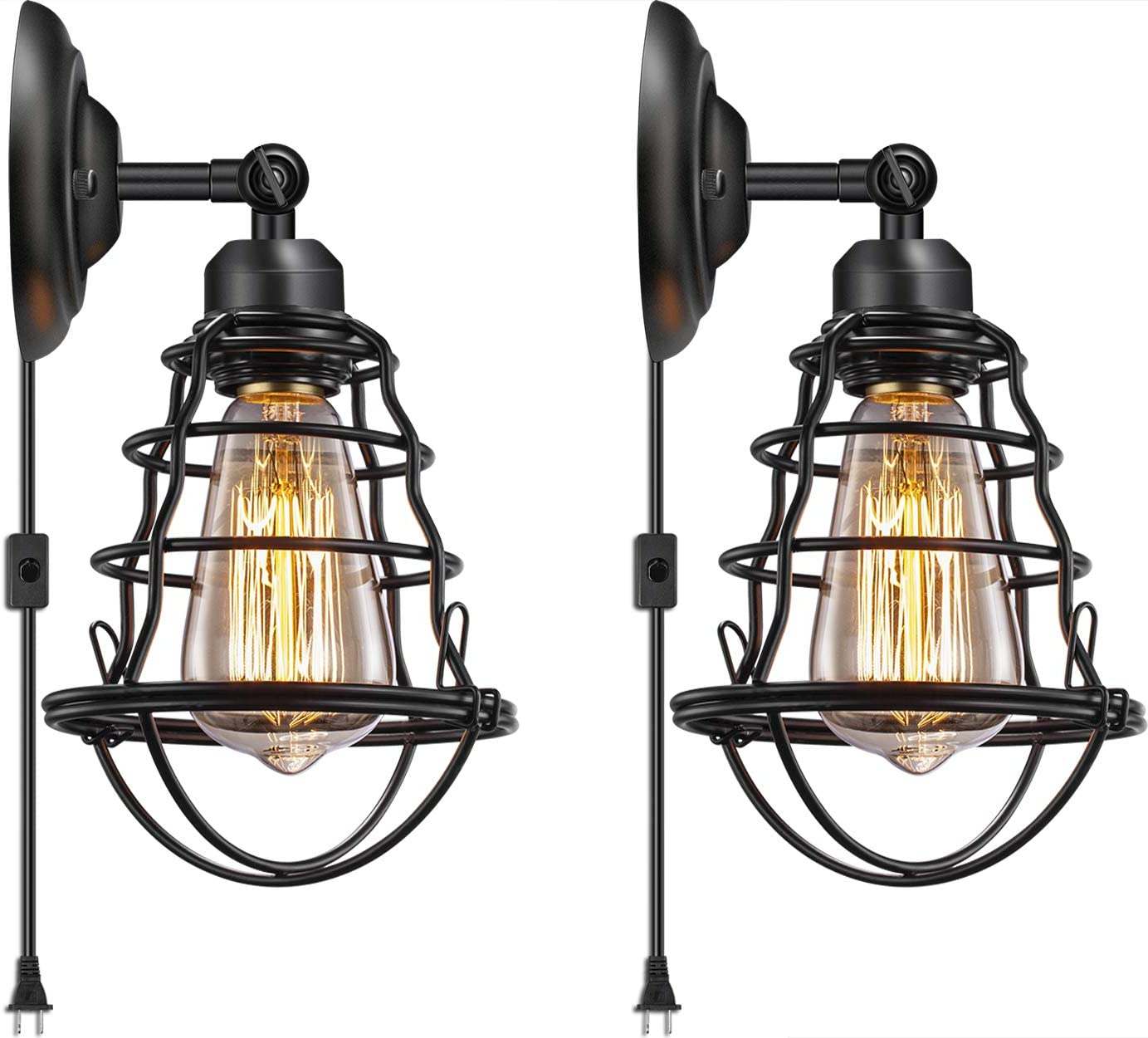 Industrial Plug in Wall Light E26 Base Edison Wire Cage Style Vintage Wall Lights with 5.9Ft Adjustable Plug in Cord Rustic Wall Sconce Fixture for Headboard Bedroom Porch Bathroom 2 Pack - -