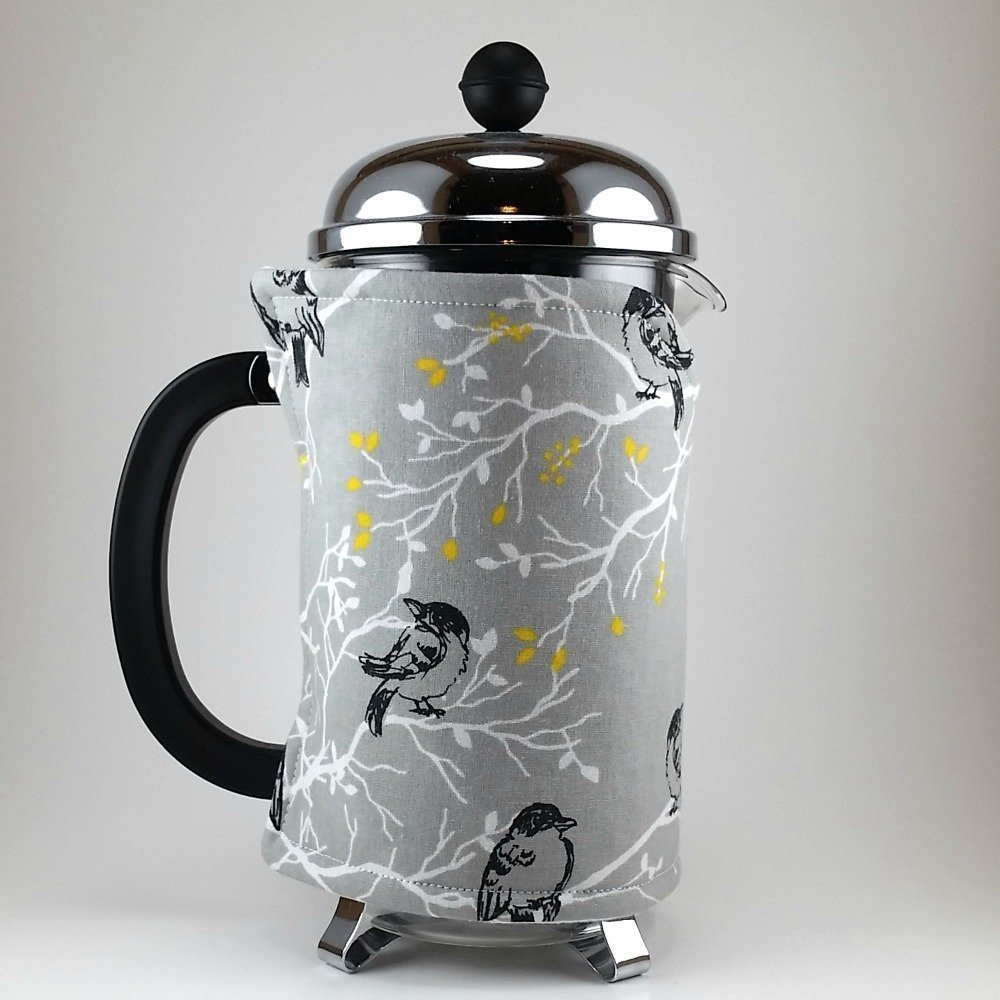 French Press Cozy Cover, 8 cup, Grey Bird Decor