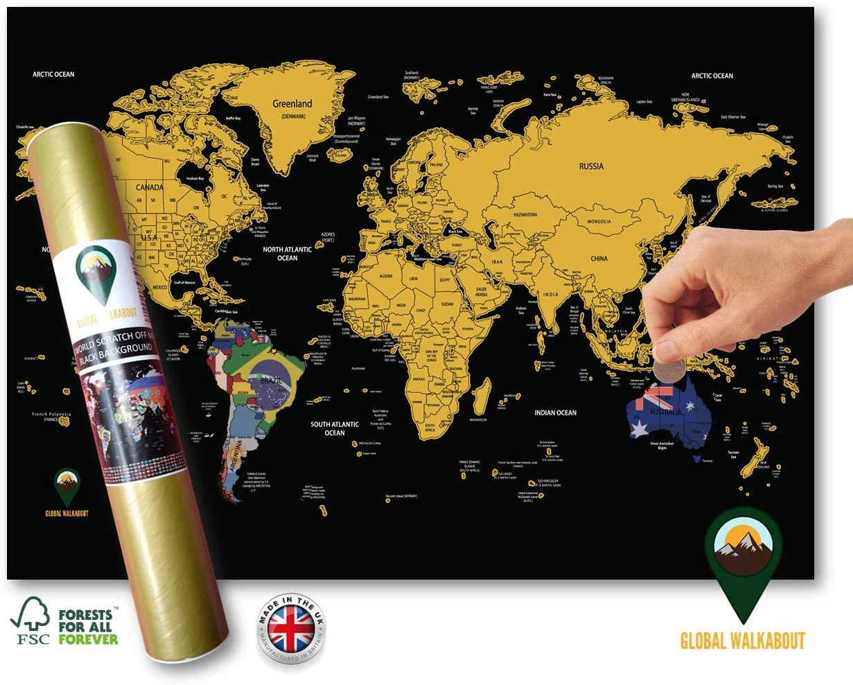 Scratch Off Europe Map with Flags Background Deluxe Travel Size Poster Black New