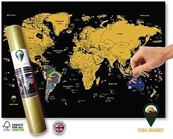 Global Walkabout Rubbel Weltkarte Mit Flaggenhintergrund