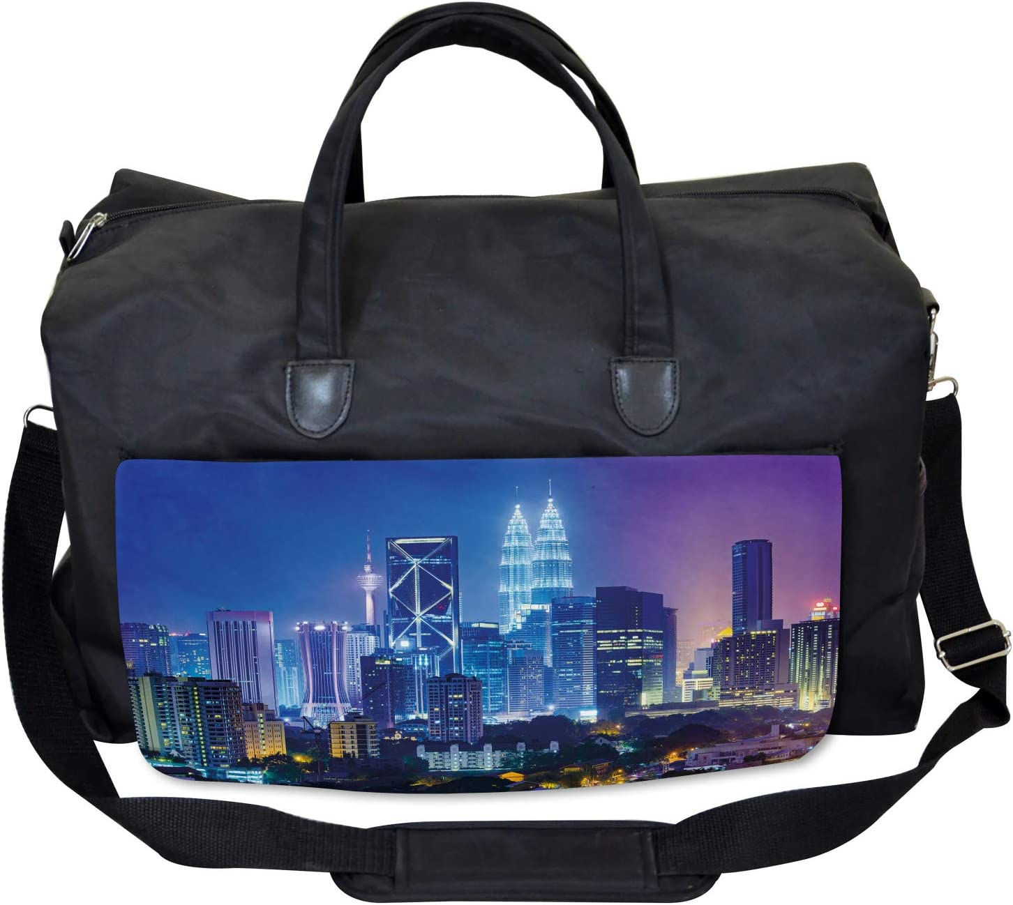 Ambesonne Colorful Gym Bag Large Weekender Carry-on Cityscape Asian Kuala
