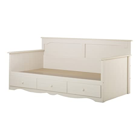 south shore summer breeze twin daybed with storage 39inch white wash