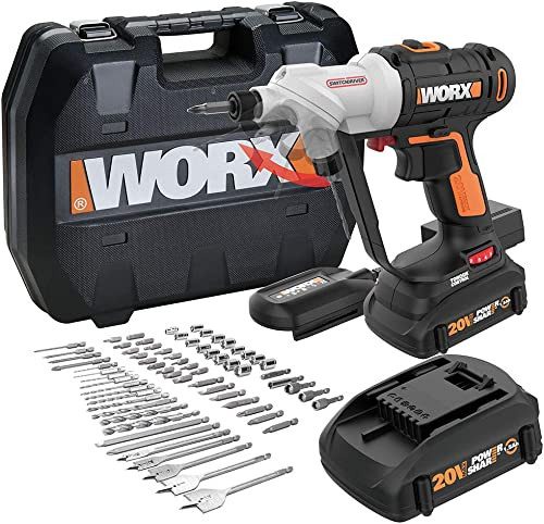 WORX WX176L.1 Switchdriver 2-in-1 Cordless Drill and Driver with Rotating Dual Chucks and 2-Speed Motor with Precise Electronic Torque Control Kit 67 Piece