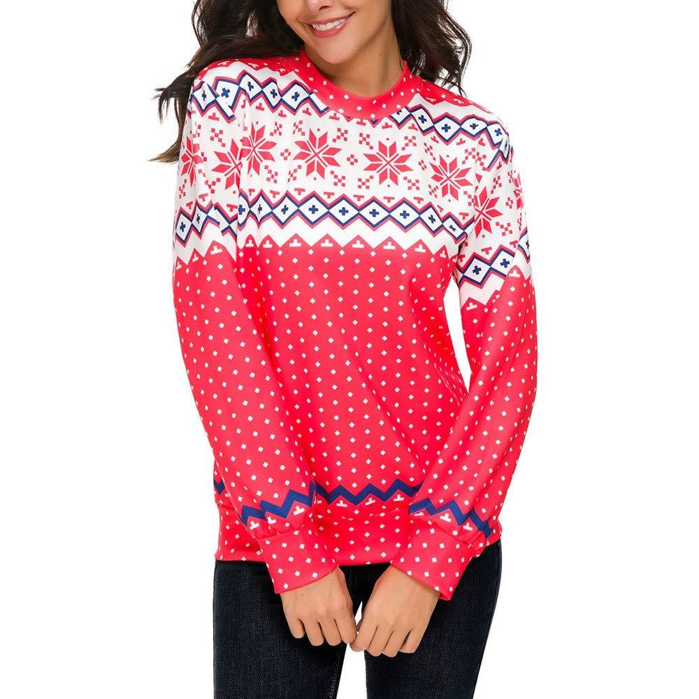 rocicaS Women's Hoodie Christmas Hoodie Long Sleeve Fashion Solid Dot Print Patchwork Tops Sweatshirt Jumper Pullover Blouses