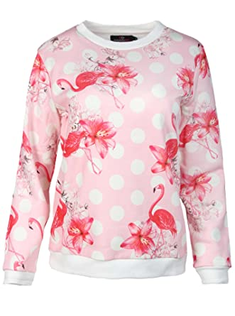 offizielle Fotos 414ba 34f9b Zwillingsherz Sommer Pullover mit Flamingo Print ...