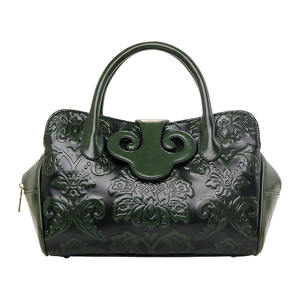 Women PU Leather Embossing Classic Top-handle Handbag Messenger Bag Shoulder Bag Chinese Style (Green)