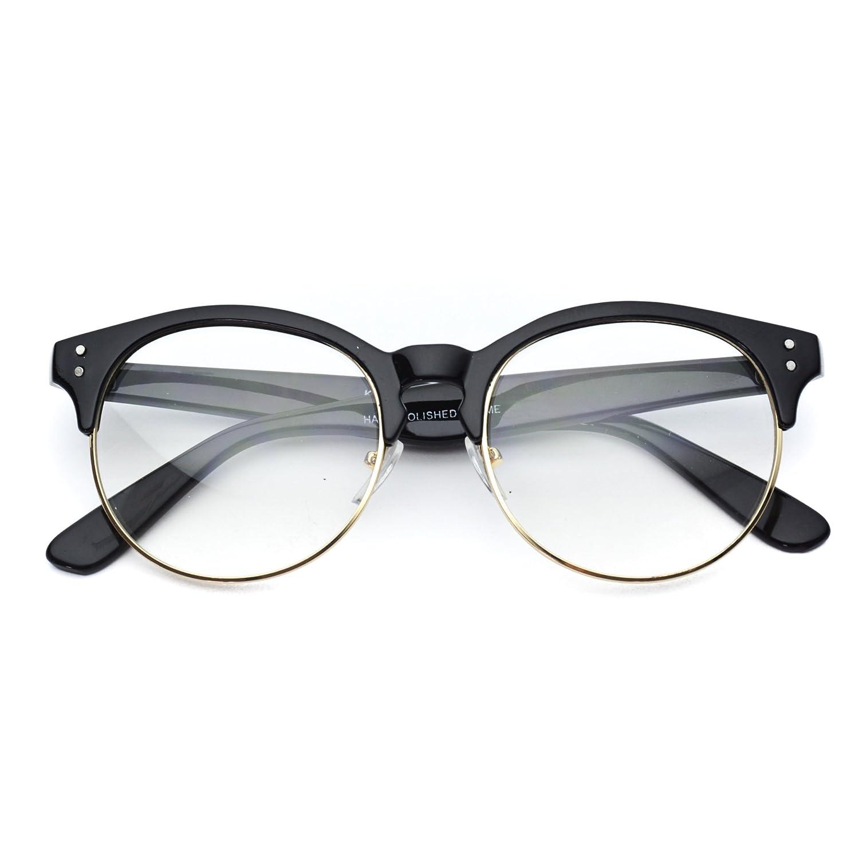 93533f7b67 Amazon.com  WearMe Pro - Clear Half Frame Round Retro Non Prescription  Glasses  Clothing