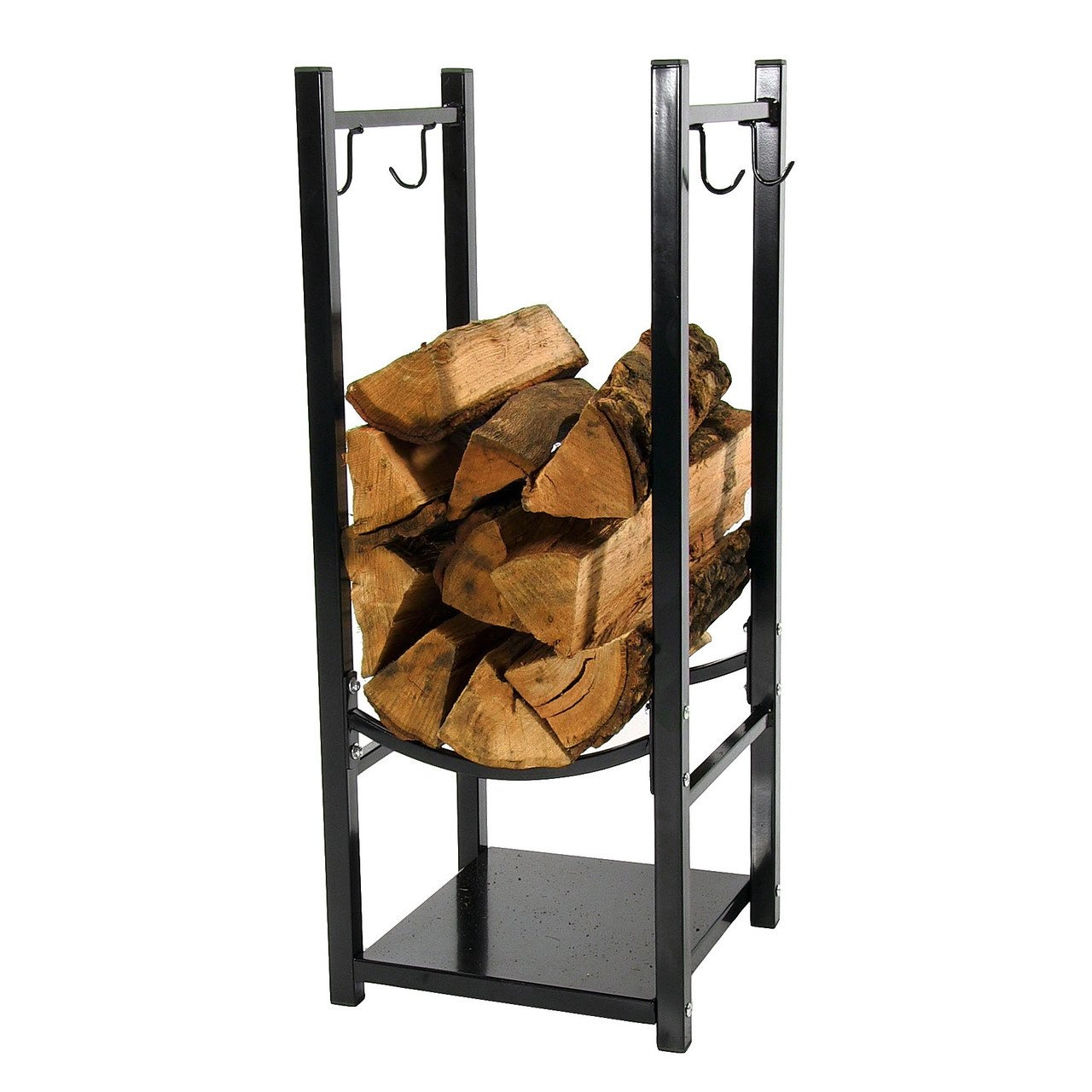 Sunnydaze 13-Inch Firewood Log Rack with Tool Holders – Indoor or Outdoor Black Powder-Coated Steel Wood Storage Stacker – Metal Holder for Logs for Fireplace, Stove and Fire Pit