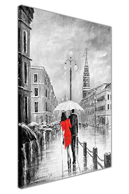 Red Dress Under Umbrella Black and White Framed Canvas Pictures Wall ...