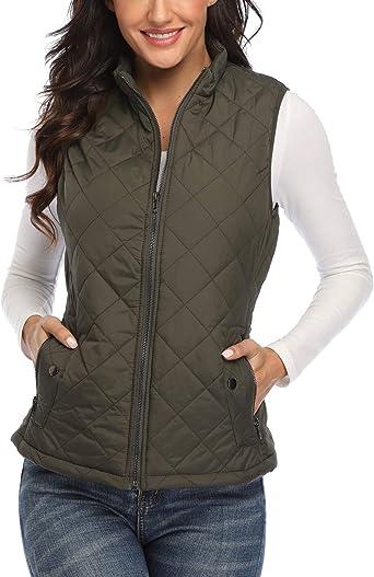Wudodo Women's Gilet Jacket Stand Collar Lightweight Quilted Zip Vest  Bodywarmer Outdoor Gilet: Amazon.co.uk: Clothing