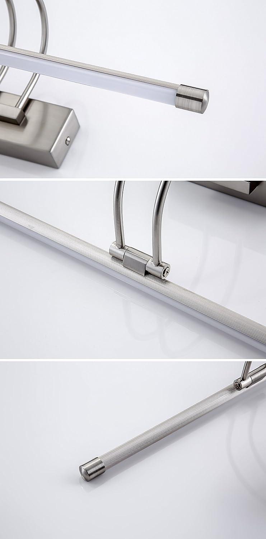 5W LED Spiegel Licht 36cm LED Badezimmer Wandleuchte lampe Badlampe Badleuchte Badezimmerleuchte Badleuchten Badlampe Spiegel Bad-Spiegelleuchte weißes Licht 180 ° Winkel Verstellbar Silver(7w Warmes Weißes Licht)