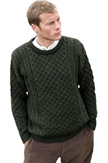 bd1f53a2209e30 Traditional Wool Crew Neck Aran Sweater at Amazon Men's Clothing store: