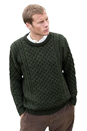 Aran Crafts Men's Merino Wool Crew Neck Sweater at Amazon Men's ...