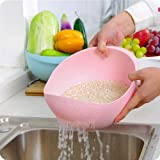 ShopX Strainer bowl Rice Pulses Fruits Vegetable Noodles Pasta Washing Bowl & Strainer Eco-Friendly BPA vegetable dryer strainer basket vegetable basket vegetable drainer - Makes washing of Rice, Vegetables and Fruits Easier - Assorted Colors