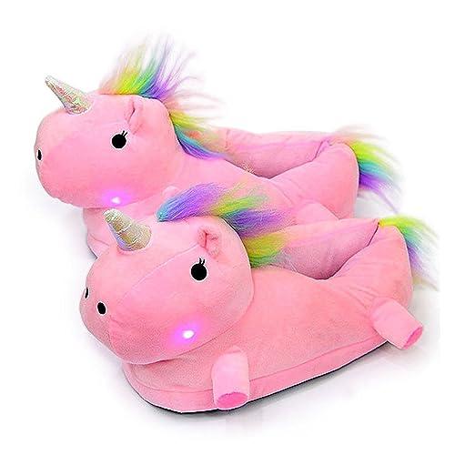 LED Zapatillas Unicornio Casa Zapatos Peluche Suave Calentar Invierno Pantuflas Regalo de Navidad Para Niños Niñas