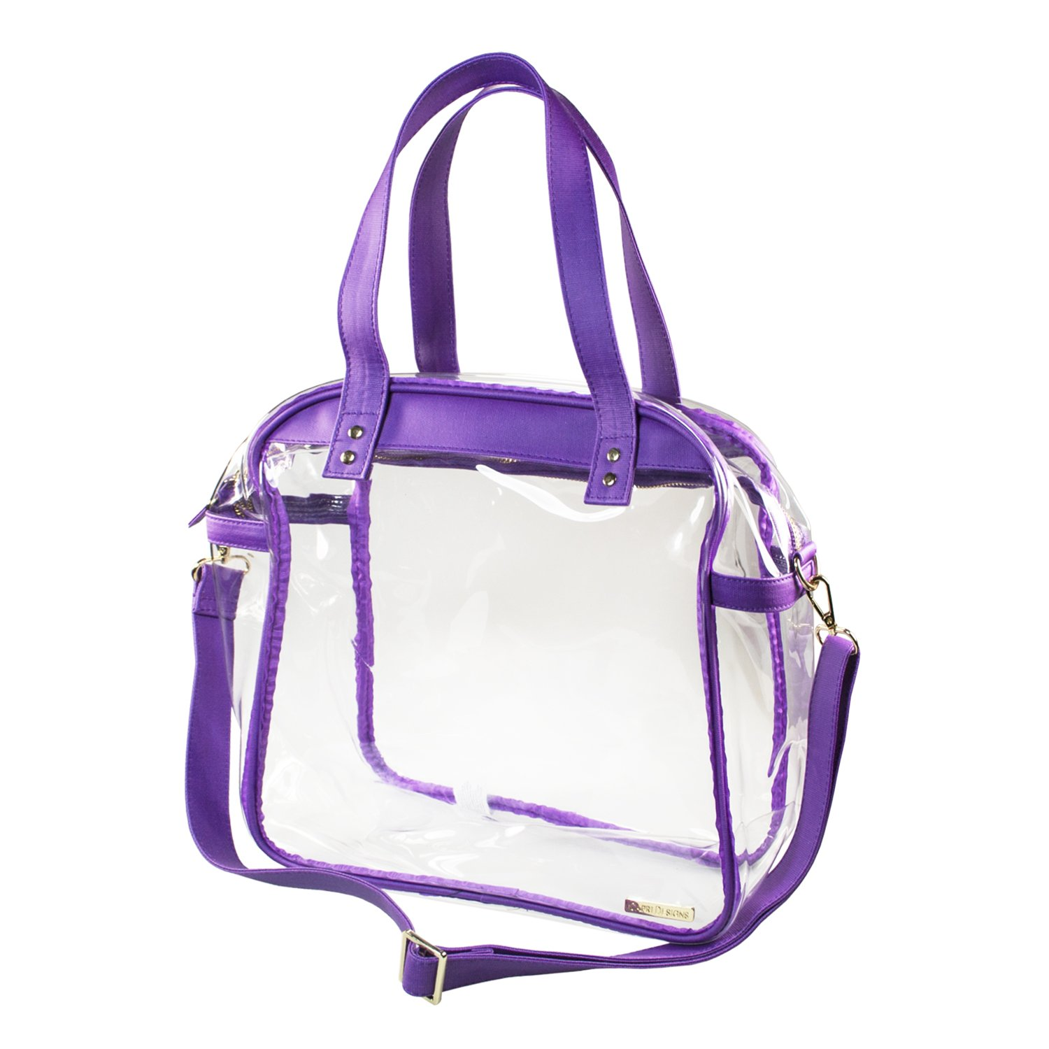 Capri Designs Stadium Approved Cotton Canvas Clear Carryall Tote Bag (Purple)