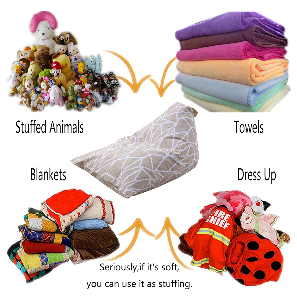 oft /& Comfy Cover that Creates Cozy Lounger Bed//B Samber Stuffed Animal Storage Bean Bag Chair Organizer With Handle Large Capacity