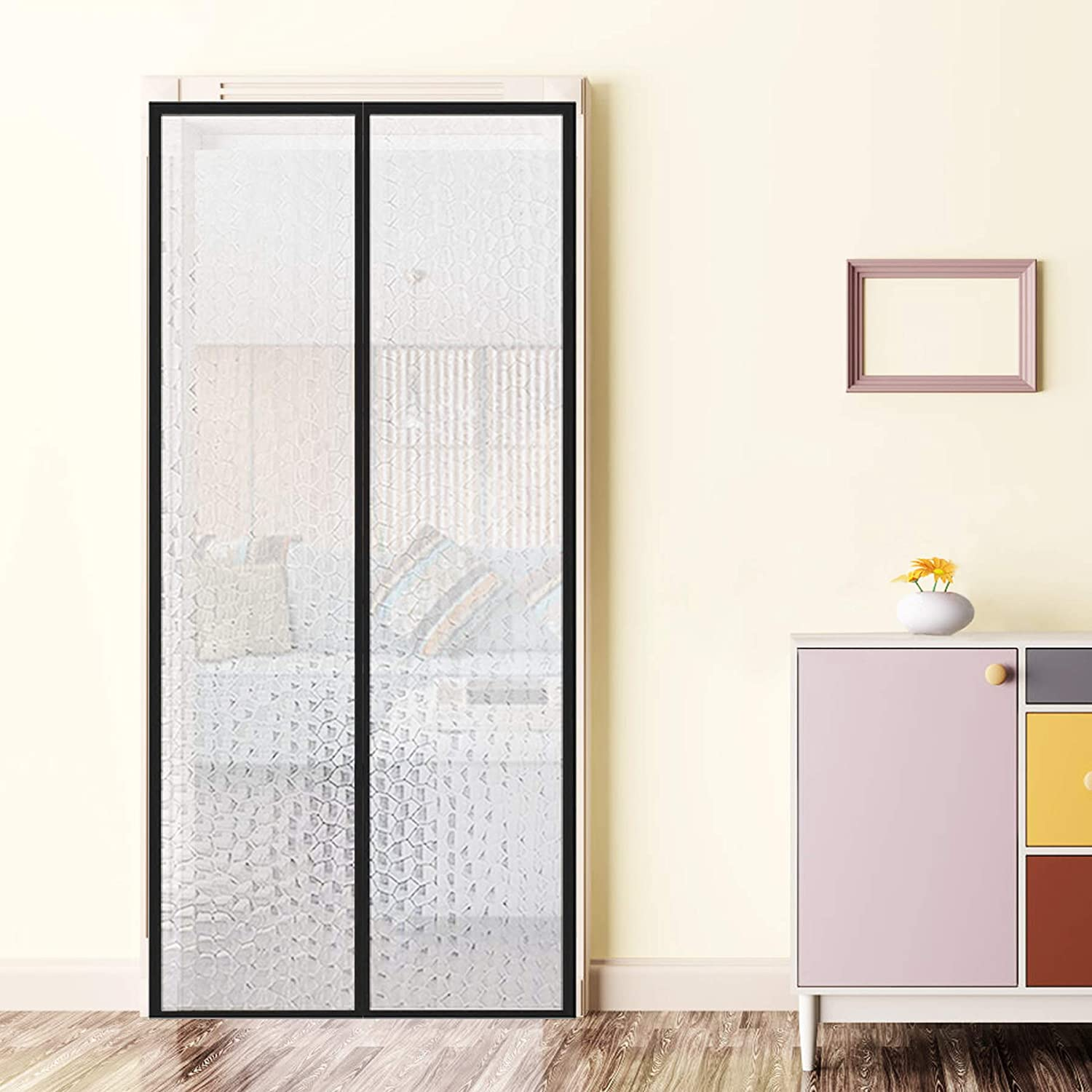 """YUFER Magnetic Thermal Insulated Curtain 36×80, Thermal Screen Door for Air Conditioner Heater Room Home Kitchen Fits Doors Up to 36"""" x 80"""" MAX"""
