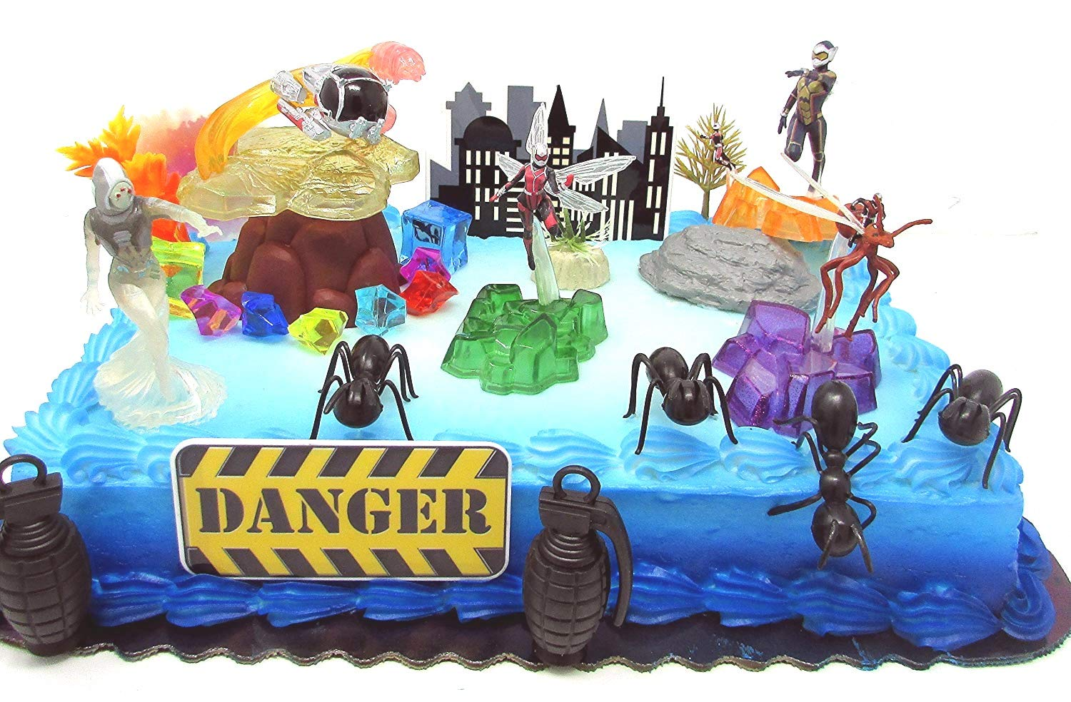 Amazon ANT MAN Deluxe Birthday Cake Topper Set Featuring Ant Man Figures And Decorative Themed Accessories Toys Games