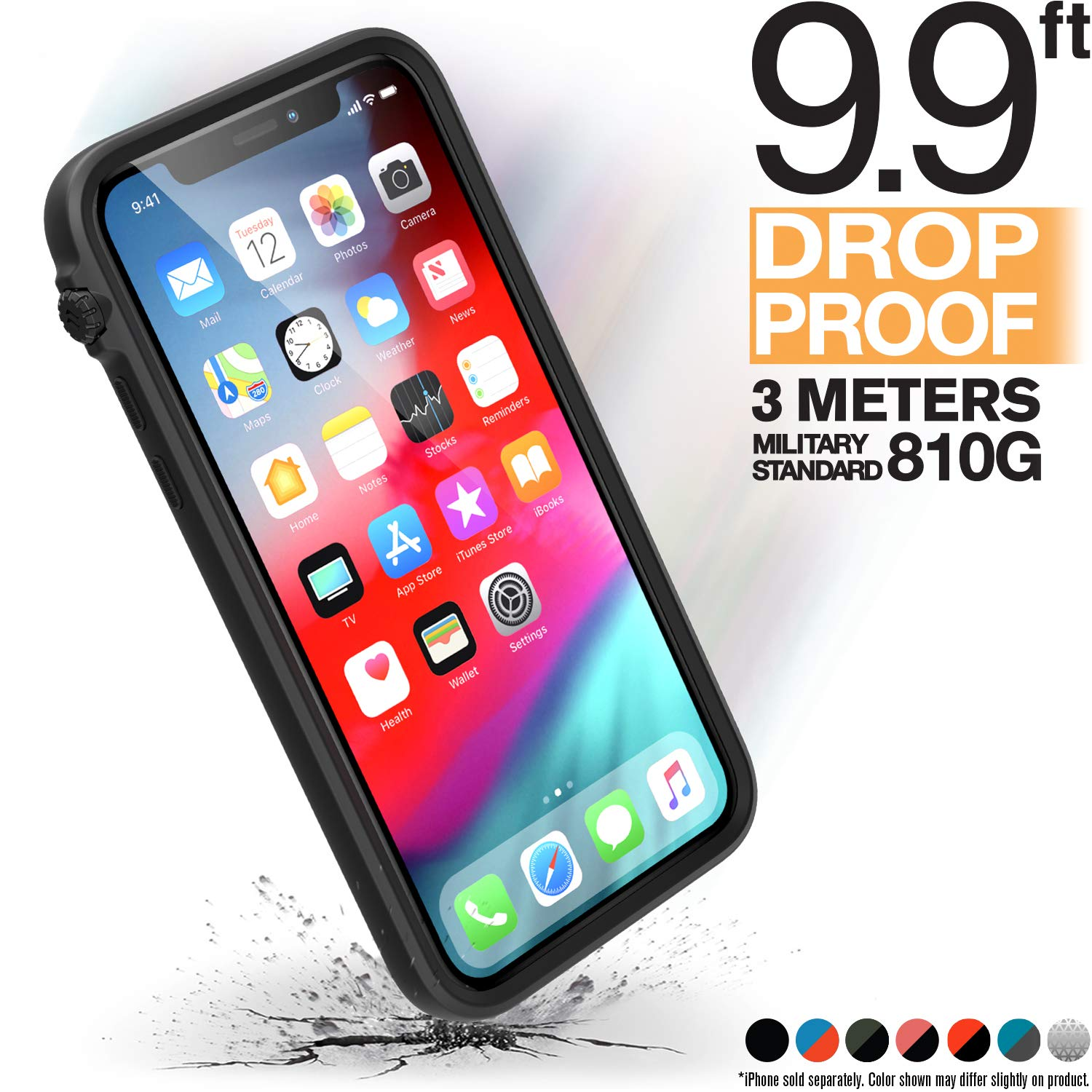 Catalyst iPhone X Case [Compatible iPhone Xs] Impact Protection, Military Grade Drop and Shock Proof Premium Material Quality, Slim Design, Stealth Black by Catalyst