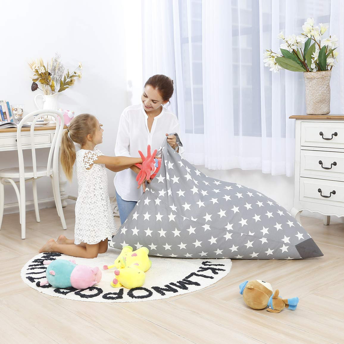 Aubliss Stuffed Animal Storage Bean Bag Chair - Plush Animal Toy Organizer for Kids, Girls and Children | Extra Large | 23 Inch Long YKK Zipper | Premium Cotton Canvas by Aubliss
