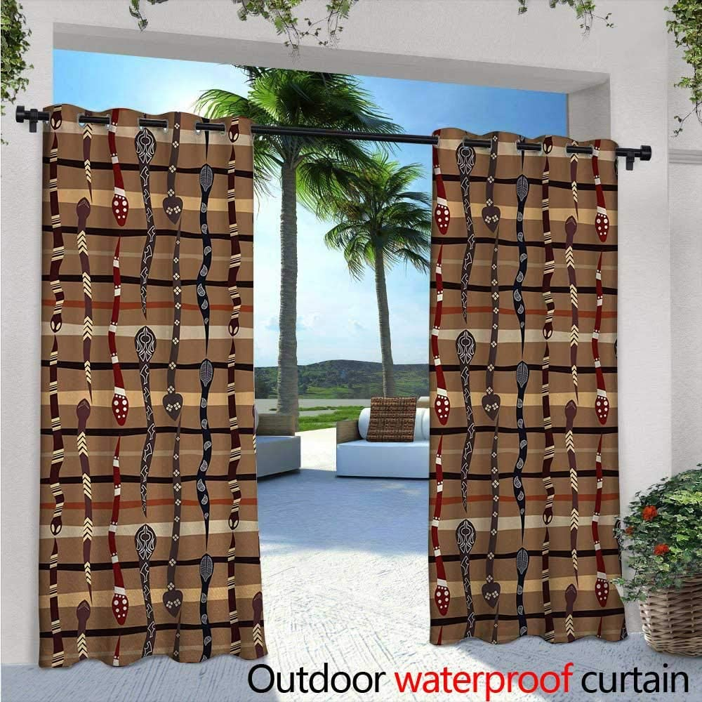 Cortina de privacidad para exteriores tribal para pérgola mexicana nativa americana, diseño simétrico, cuatro esquinas de diseño artístico, aislamiento térmico, repelente al agua, para balcón W108
