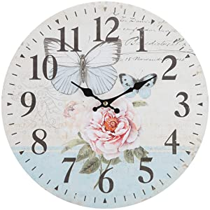 "Lily's Home Retro Style Vintage Inspired Blue Swallowtail Butterfly Floral Garden Kitchen Wall Clock, Battery-Powered with Quartz Movement, Ideal Gift for Garden or Flower Lover (13"" Diameter)"