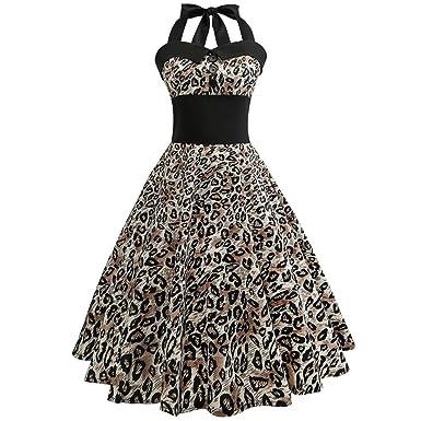 56419b9d13fcff Damen Kleider, GJKK Damen Elegant Neckholder Rockabilly 50er Vintage Retro Kleid  Petticoat Faltenrock Frauen Floral