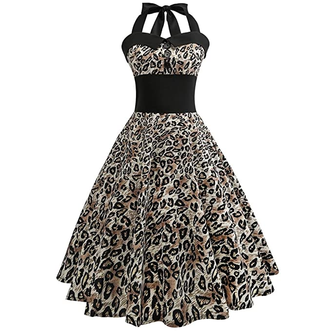 983ce294fd34 Damen Kleider, GJKK Damen Elegant Neckholder Rockabilly 50er Vintage Retro  Kleid Petticoat Faltenrock Frauen Floral Gedruckt Ärmellos Abendkleid ...