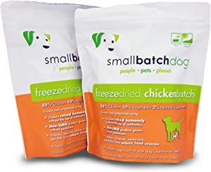 Smallbatch Pets Freeze-Dried Premium Raw Food Diet for Dogs, 2-Pack, Chicken Recipe, 14 oz in Each Bag (28 oz Total), Made in The USA, Organic Produce, Humanely Raised Meat, Hydrate and Serve Patties