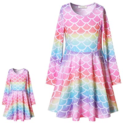 Perfashion Unicorn Dress Matching Girls&Dolls Sleeveless Party Summer Outfits: Clothing