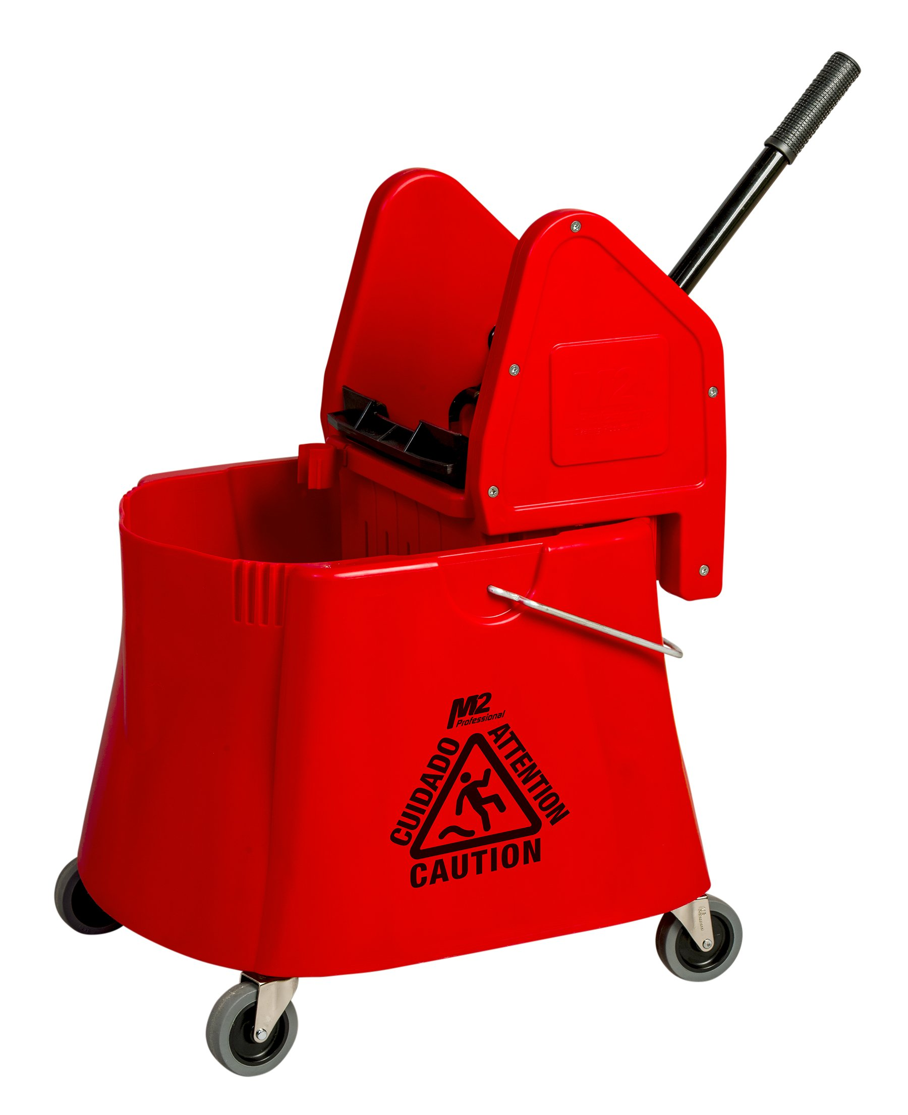 M2 Professional 40 Qt / 30 L Elephant Foot Mop Bucket with Down Press Wringer with Wheels - Red